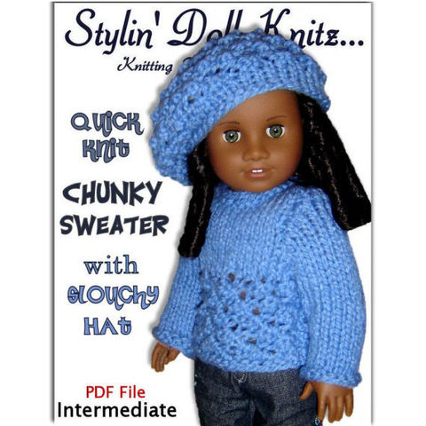 Doll,Sweater,and,Slouchy,Hat,Knitting,Pattern,,Fits,18,inch,American,girl,doll.,043,Patterns,Doll_Clothing,knitting_pattern,American_girl_Doll,18_inch_dolls,Gotz_clothes,Maplelea_girl,Madame_Alexander,PDF_Slouchy_Hat,AG_sweater_pattern,knit_doll_clothing,knit_instructions,Quick_knit_pattern,PDF_doll_items,StylinDollKnitz,PDF_Pattern,Knit