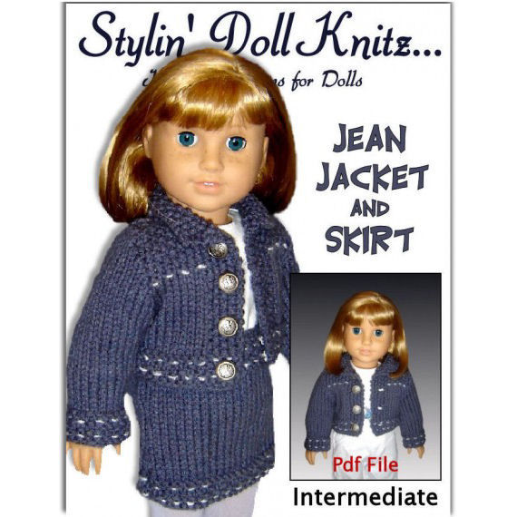 pdf 18 in. doll knitting pattern. Fits American Girl Doll. Jean jacket and Skirt 012 - product images  of