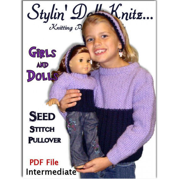 Knitting Patterns, Matching Girl and Doll sweaters. American Girl Doll. AG, PDF 501 - product images  of