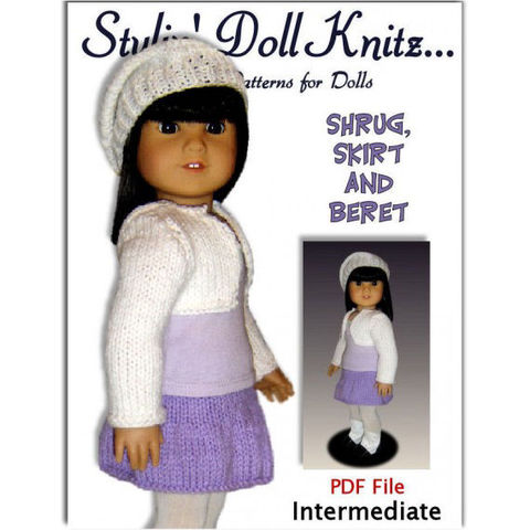 Knitting Pattern, fits American Girl /18 inch dolls, shrug and skirt