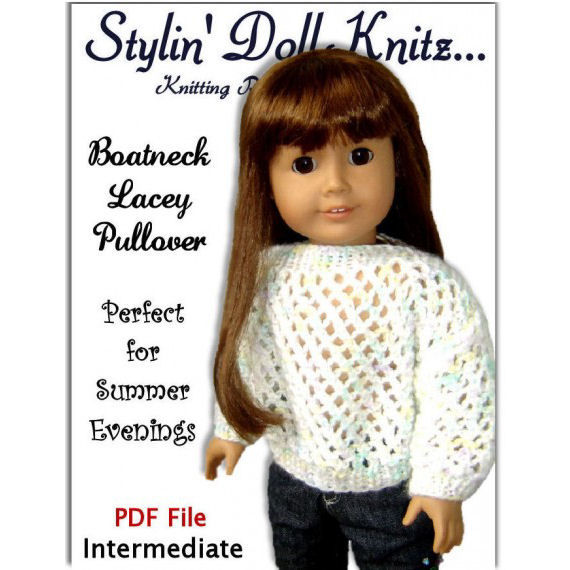 Knitting Pattern Boatneck Pullover Fits American Girl Doll Ag