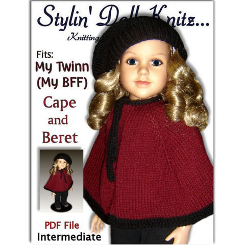 Cape,and,Beret,Knitting,Pattern,fits,My,Twinn,(My,BFF),,23,inch,dolls.,PDF,618,Knitting Pattern, Cape and Beret pattern, My Twinn doll, My Bff doll, 23 inch dolls, PDF knit Patterns, Stylindollknitz,knitting instructions
