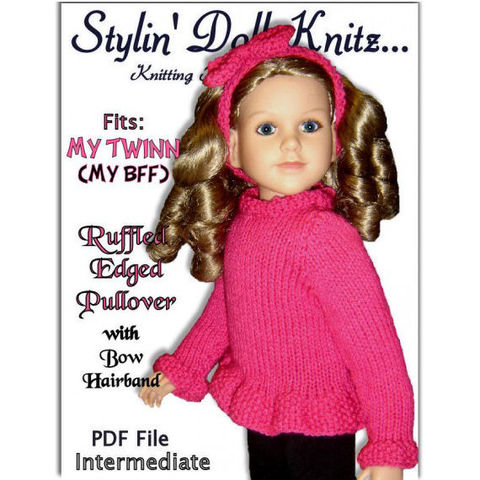 Knitting,Pattern,fits,23,inch,dolls,,My,Twinn,(My,BFF),,Sweater,PDF,,642,knitting pattern,sweater pattern,My Twinn Doll,My BFF doll, 23 inch dolls,bow headband,stylindollknitz,pdf pattern,girls gifts