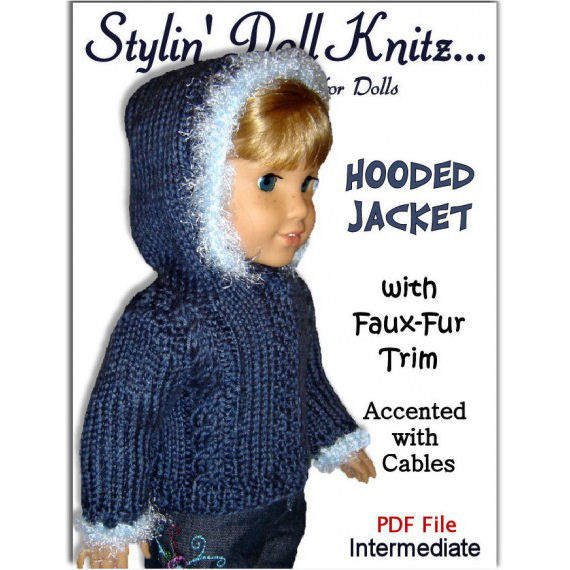 PDF knitting Patterns, Fit American girl Doll, 18 inch - product images  of