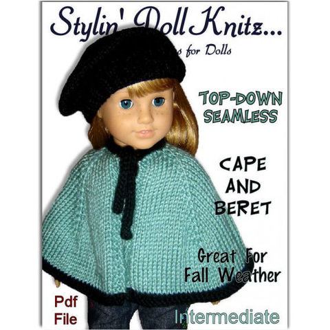 Knitting,pattern,,Cape,and,Beret.,Fits,American,Girl.,All,18,inch,Dolls.,PDF,018,Patterns,Doll_Clothing,doll_clothing,american_girl_doll,18_inch_doll,maplelea_girls,knitting_pattern,Madame_Alexander,knitted_cape_pattern,knit_beret_pattern,doll_clothes_pattern,Pdf_AG_Pattern,Gotz_knit_pattern,doll_knit_pattern,pdf_knitting_pattern,knit