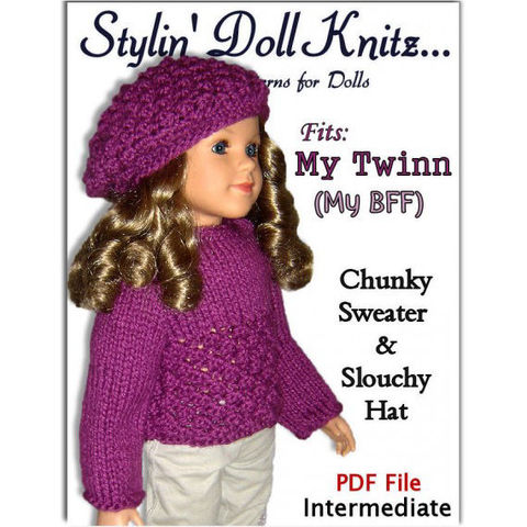 Doll,sweater,pattern,and,slouchy,hat,fits,My,Twinn,Doll,,Bff,,23,inch,dolls,,PDF,643,knitting pattern,dollknitting pattern,doll clothes,My Twinn Doll,My twin,My Bff, 23 inch dolls, doll sweater, doll hat, pdf pattern, e-pattern,doll hat pattern,knit instructions
