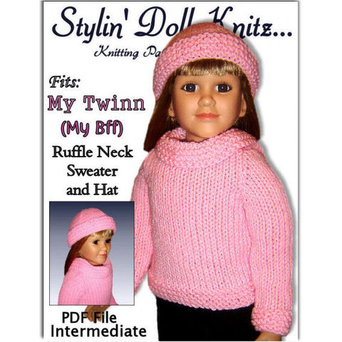 Doll,Clothes,Knitting,Pattern,fits,My,Twinn,,BFF,,23,inch,dolls.,PDF,,604,knitting pattern, doll clothes, My Twinn doll, My BFF doll, 23 inch doll, sweater and hat, knit instructions, kids gifts, DIY doll clothing