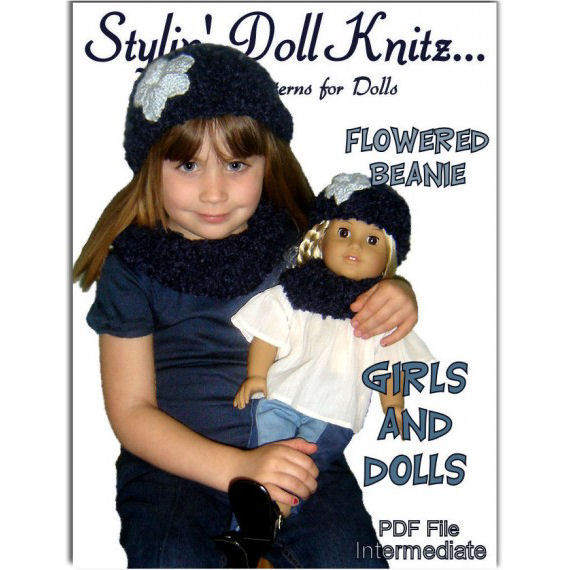 Knitting pattern. Girl and Doll Flower Beanie and Neck Warmer. American Girl Doll PDF, 402 - product images  of