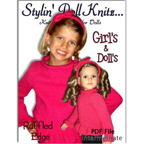 Knitting,Patterns.,Matching,Girl,and,Doll,Sweaters.,Fits,My,Twinn,,Girls,4-10,,942,knitting patterns,Girls sweater,doll sweater,My Twinn doll,My BFF, Headband pattern,pdf pattern,girls knit clothes,doll clothes
