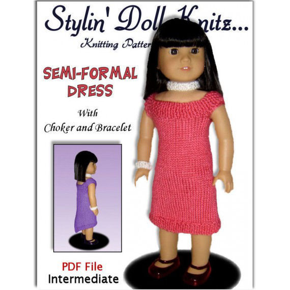 Fits American Girl. Knitting pattern, doll clothes, 18 inch PDF AG 035 - product images  of