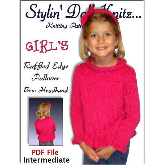 Sweater Pattern, Knitting. Childrens Pullover with Bow headband. PDF 342 - product images  of
