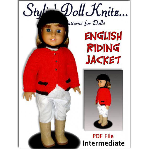 Knitting Pattern, English Riding Jacket, fits American Girl Doll and 18 in. dolls. 025 - product images  of
