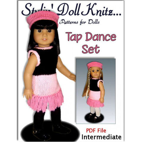 Doll,clothes,Pattern,for,American,Girl,,18,inch,doll.,Tap,Dance,set,,PDF,,022,Patterns,Handmade,Knitting,doll_clothing,american_girl_doll,maplea_girls,gotz,18_inch_dolls,children,toys,girls,stylin_doll_knitz,dress,knitting_pattern,dance_dress,pdf