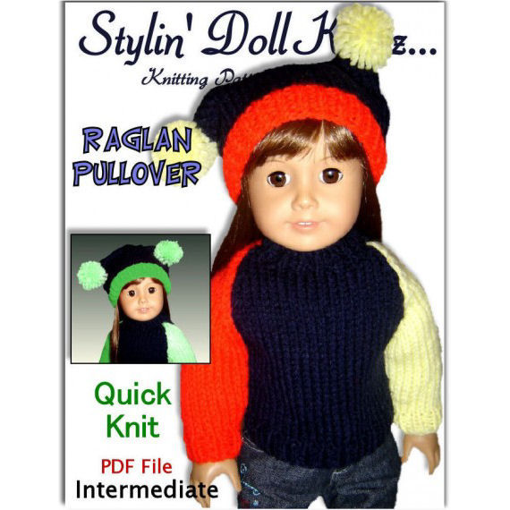 Fits American Girl Doll (Gotz, Maplelea). Knitting Pattern Raglan Pullover 008 - product images  of