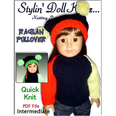 Fits,American,Girl,Doll,(Gotz,,Maplelea).,Knitting,Pattern,Raglan,Pullover,008,Patterns,Handmade,doll_clothing,american_girl_doll,gotz_and_maplea_girl,toys,children,free_shipping,18_inch_doll,sweater_and_hat,stylin_doll_knitz,knitting_pattern,jester_cap,doll_clothes_pattern,PDF_Knit_pattern,pdf,pattern