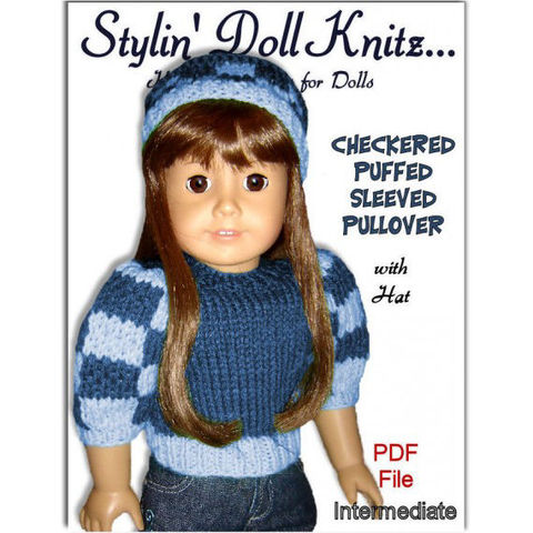 Knitting,Pattern.,Fits,American,Girl,Doll.,Checkered,Puffed,Sleeved,007,Patterns,Handmade,doll_clothing,american_girl_doll,18_inch_doll,children_and_girls,sweater_and_hat,free_shipping,gotz,maplelea_dolls,stylindollknitz,knitting_pattern,Madame_Alexander,doll_clothes_pattern,pdf_knit_pattern,pdf,pattern