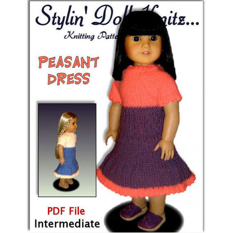 Doll,Peasant,Dress,knitting,pattern,,for,American,Girl,and,18,inch,,PDF,029,Patterns,Handmade,Knitting,doll_clothing,american_girl_doll,maplelea_girl,gotz,girls,stylindollknitz,toys,dress,18_inch_dolls,knitting_supplies,knitting_pattern,peasant_dress,doll_clothes_pattern