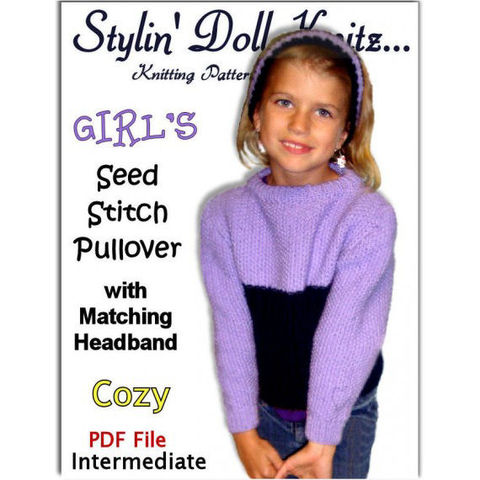 Girls,Sweater,Knitting,Pattern.,Seed,St.,Pullover,and,Headband.,PDF,,301,Patterns,Clothing,Girl,pdf_sweater_pattern,headband_pattern,girls_and_gals,children_and_kids,emailed_pattern,Seed_stitch_pattern,Ages_4_to_10,StylinDollKnitz,kids_clothes_pattern,matches_AG_Doll,long_sleeve,crew_neck_top,knitting_pattern