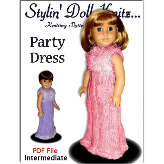 Fits American Girl Doll, AG. Party Dress knitting pattern ...
