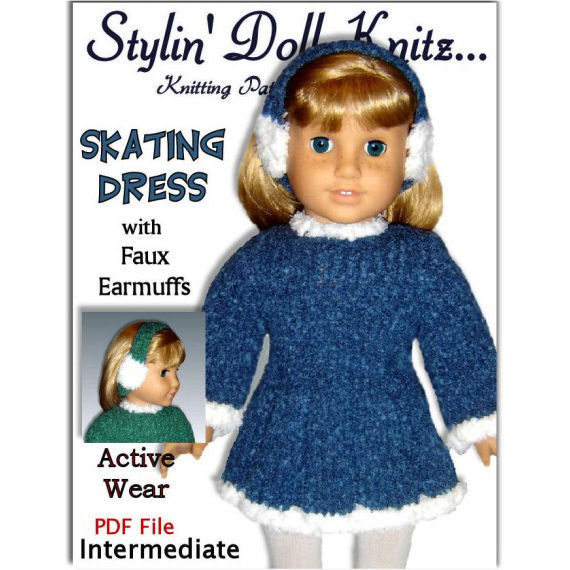 Knitting Pattern Fits American Girl Doll And 18 Inch Doll Skating