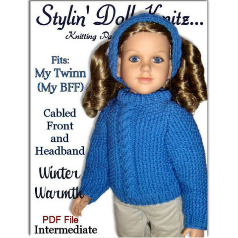 Knitting,Pattern,fits,My,Twinn,,23,inch,dolls.,Cabled,Front,Sweater.,603,knitting pattern,23 inch doll,My Twinn doll,My BFF,cabled sweater pattern,pdf pattern,DIY doll clothes,stylindollknitz,knit headband