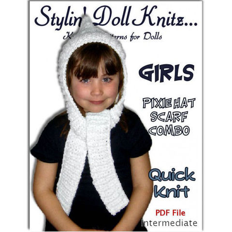 PDF,Knitting,Pattern.,Pixie,Hat,,Scarf,combo.,Girls,and,Kids.,1306,knitting pattern,hat and scarf,pdf format,girls winter clothes,pixie hat,stylindollkniz,knitting tutorial,knit instructions
