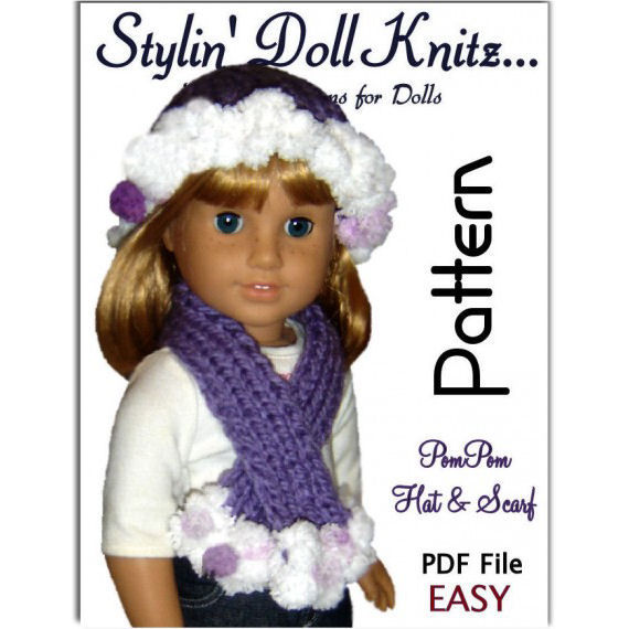 Knitting Patterns For Journey Girl Dolls : Knitting Pattern. Fits American Girl Doll (18 inch), Hat and Scarf 105 - Styl...