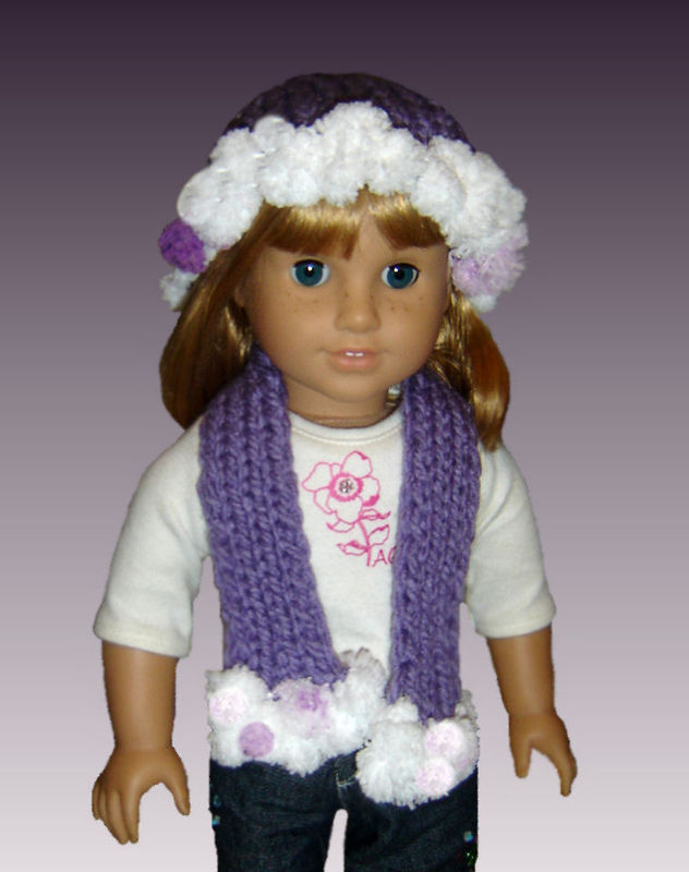 Knitting Pattern. Fits American Girl Doll (18 inch), Hat and Scarf 105 - Styl...