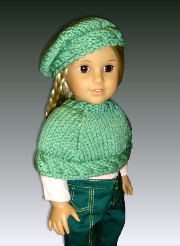 Knitting pattern for 18 inch Doll, (American Girl) Capelet and Beret, 044 - S...