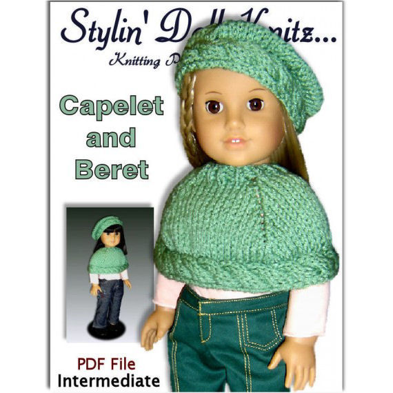 Knitting Pattern For 18 Inch Doll American Girl Capelet And Beret