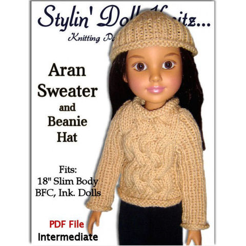 Doll,Clothes,Knitting,Pattern.,Fits,BFC,,Ink.,,Aran,Sweater,and,Beanie,Hat,PDF,709,knitting pattern,doll clothes pattern Aran sweater, cable sweater,BFC INK. doll, BFC Inc.,18 inch slim doll, StylinDollKnitz. stylin doll knitz,beanie hat,cap pattern,winter accessories