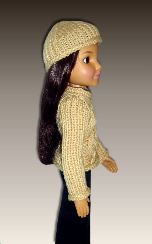 Knitting Pattern For Dolls Beanie : Doll Clothes Knitting Pattern. Fits BFC, Ink., Aran Sweater and Beanie Hat PD...