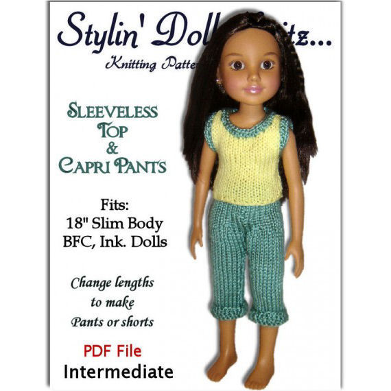 Doll clothes knitting pattern for BFC, Ink. dolls Capri pants and ...