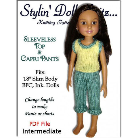 Doll,clothes,knitting,pattern,for,BFC,,Ink.,dolls,Capri,pants,and,top.,PDF,752,knitting pattern,Bfc Ink. doll, Doll clothes, Pants and top, 18 inch slim doll,Stylindollknitz,stylin doll knitz,capri pants,sleeveless top