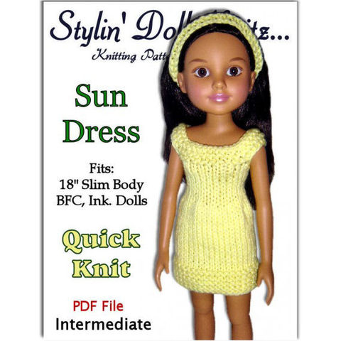 Doll,Dress,knitting,Pattern,fits,BFC,Ink.,dolls,PDF,753,knitting pattern,doll dress pattern,19 inch slim dolls, BFC Ink. dolls, doll clothes,Stylin Doll Knitz, BFC Inc. doll, stylindollknitz, pdf pattern, emailed pattern