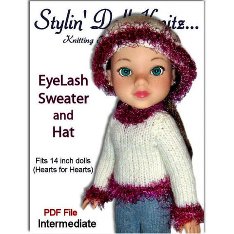 Knitting,pattern,for,doll,clothes.,Fits,Hearts,Doll.,PDF,,255,knitting pattern, Doll clothes pattern, PDF pattern, hearts for hearts dolls , hearts4hearts,Stylin Doll Knitz, Stylindollknitz,doll sweater, slouchy hat, Corelle Les Cheries doll