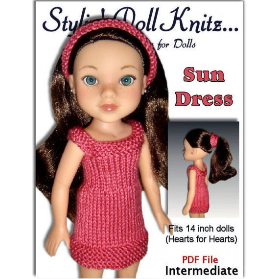 Doll Dress Knitting Pattern fits Hearts for Hearts, 14 inch dolls, PDF, 253 -...