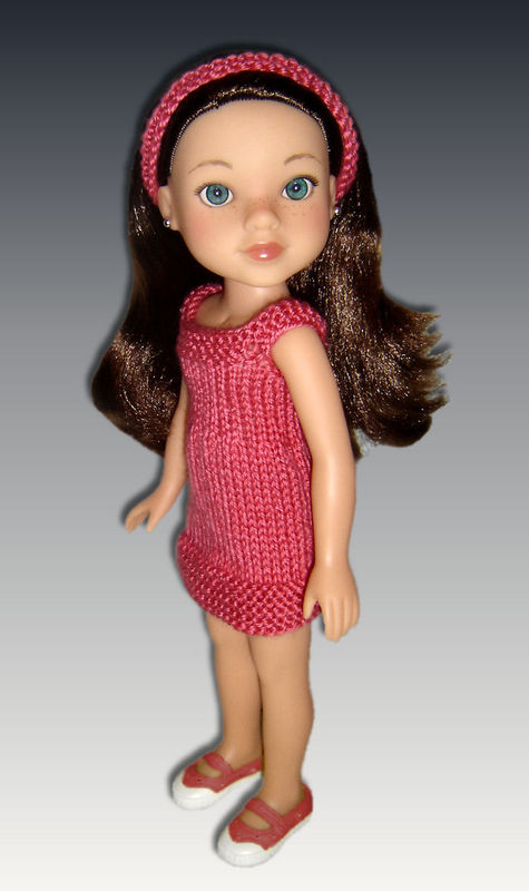 Doll Dress Knitting Pattern fits Hearts for Hearts, 14 inch dolls, PDF, 253 - product images  of