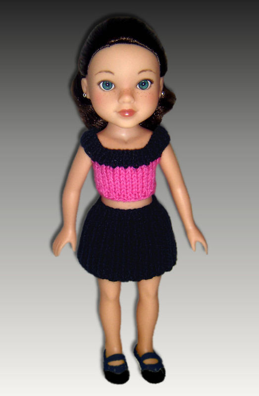 Knitting Pattern, Skirt and top fits Hearts for Hearts dolls. PDF, 254 - product images  of