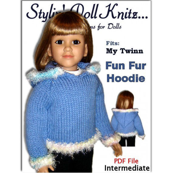 PDF Knitting Pattern fits My Twinn (My BFF), 23 inch dolls. Hoodie, 647 - product images  of