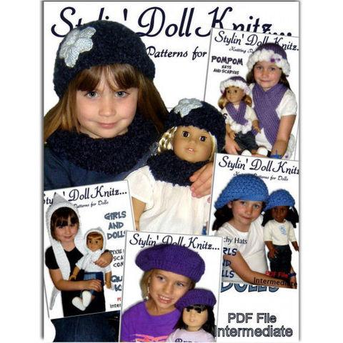 knitting patterns,girls hats,doll hats,American Girl doll,18 inch