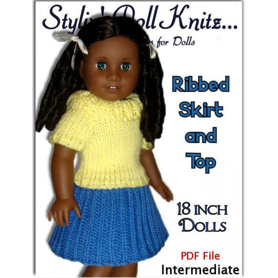 Knitting Pattern. Fits American Girl Doll. 18 inch Dolls, Ribbed Skirt and Top, AG, 046 - product images  of