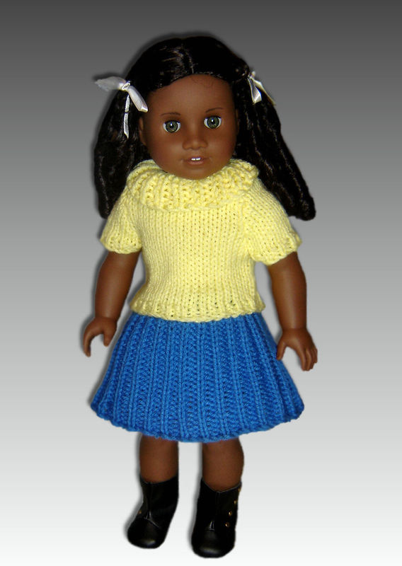 Knitting Pattern For American Girl Doll Skirt : Knitting Pattern. Fits American Girl Doll. 18 inch Dolls, Ribbed Skirt and To...
