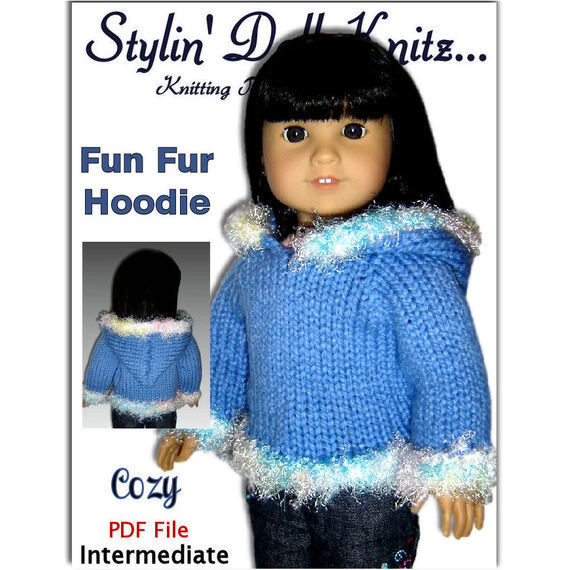 Knitting Pattern Doll Hoodie, fits American Girl and 18 inch dolls. PDF, 047 - product images  of