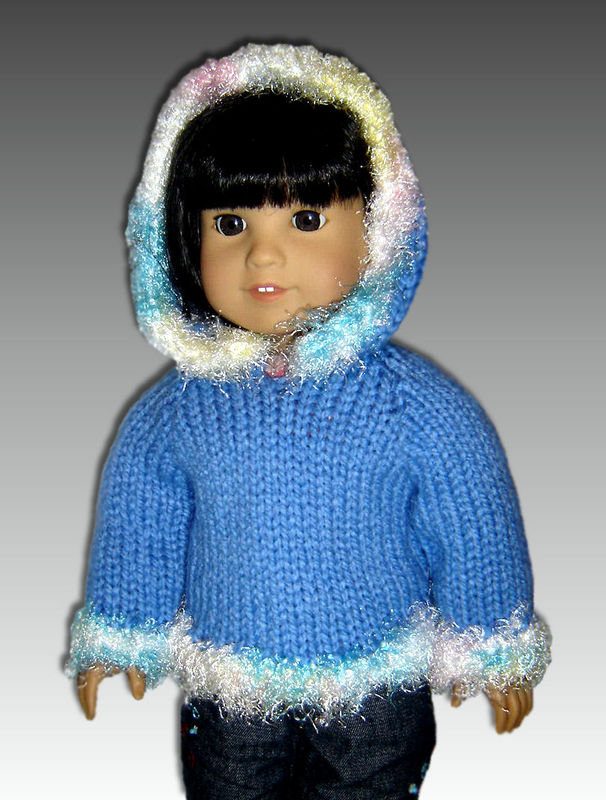 Knitting Patterns For 24 Inch Dolls : Knitting Pattern Doll Hoodie, fits American Girl and 18 ...