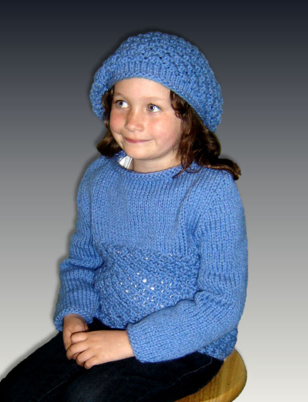 Chunky Knit Cardigan Pattern For Children : Knitting Pattern for Girls. Chunky Sweater and Slouchy hat. PDF, 343 - Stylin...