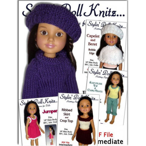 Five,Knitting,Patterns,,Fit,BFC,,Ink.,,Doll,clothes,,18,inch,slim,dolls.,PDF,70,knitting patterns,doll clothes,BFC Ink. dolls, BFC Inc. dolls, 18 inch slim dolls, doll wardrobe,knit instuctions,knitting tutorial, doll dress,doll pants,doll sweater,doll hat,Stylindollknitz,Jo MacKinnon