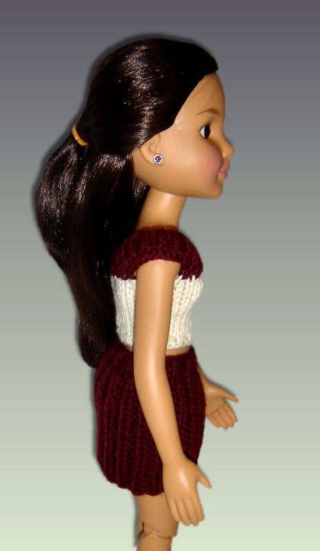 Knitting Pattern. Fits BFC, Ink Doll. 18' slim doll, Skirt and Crop Top PDF 754 - product images  of