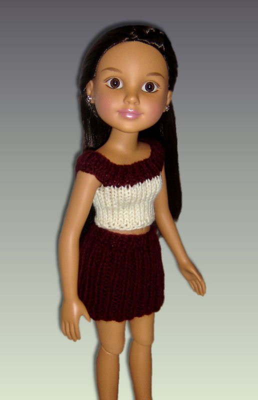 Knitting Pattern. Fits BFC, Ink Doll. 18\' slim doll, Skirt and Crop ...