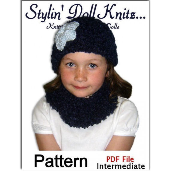 Knitting patterns. Hats, scarf, cowl for girls sizes 4-10, Four Sets, PDF 30 - product images  of